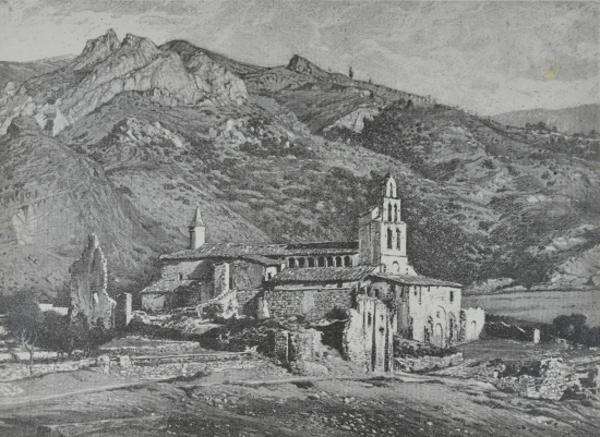 Vista General de l'antic monestir de Santa Maria, Gerri de la Sal (Baix Pallars). Autor: Servei de Catalogació i Conservació de Monuments. Generalitat de Catalunya, Departament de Cultura.