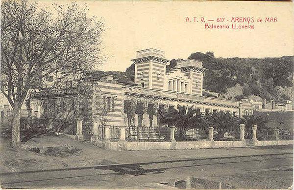 Gravat antic del Balneari Lloveras, Arenys de Mar (Maresme) 1915. Autor: A.T.V. Col•lecció Ernest Boix.